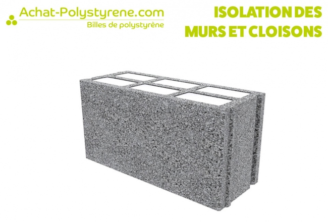 Billes de polystyrène recyclé pour isolation des murs